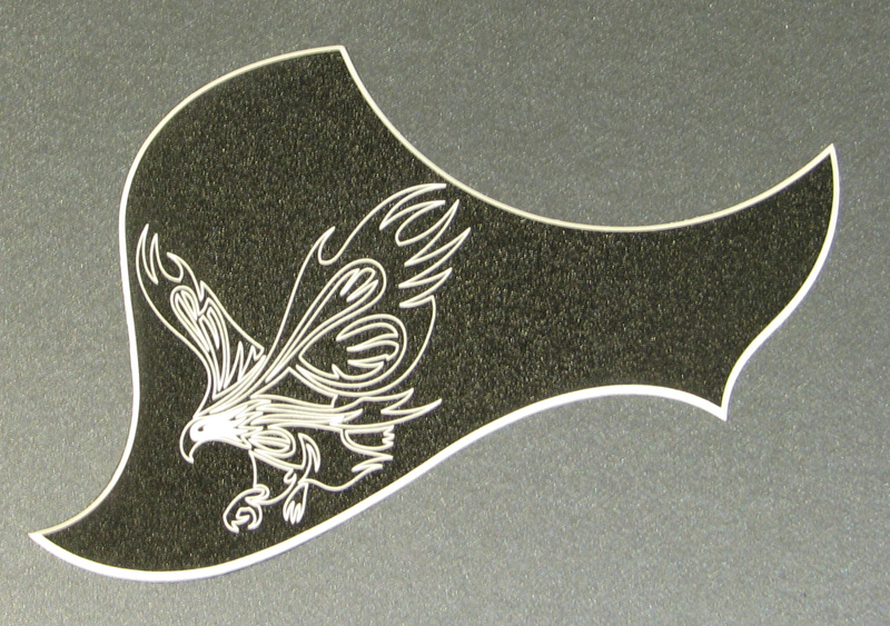L4A - Engraved Eagle on Satin Textured Black over white